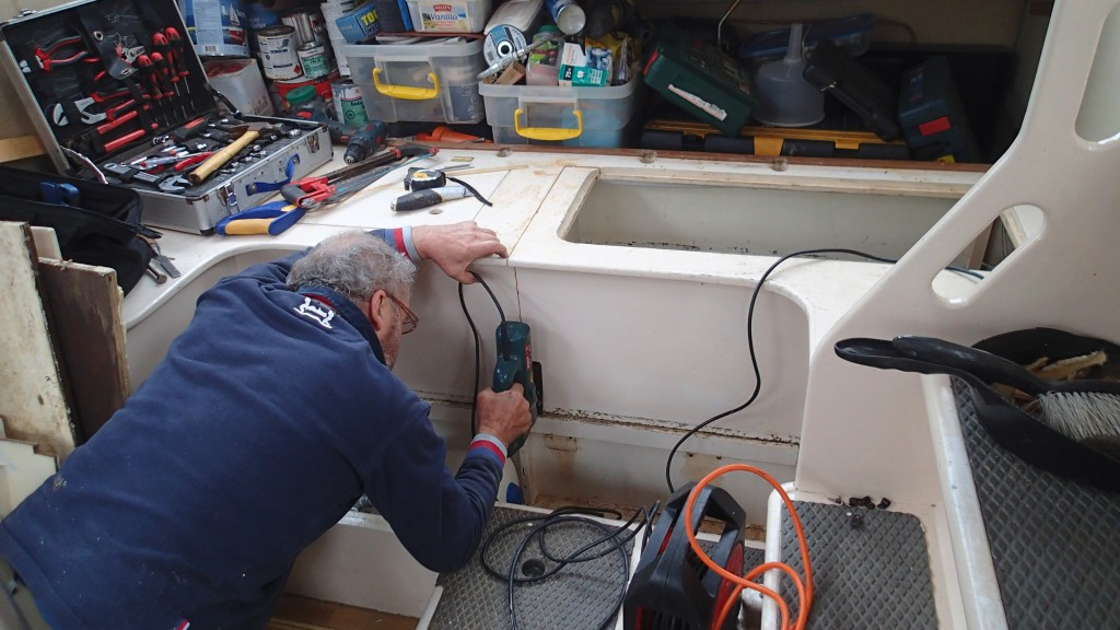 Cutting out the Pilot House seat